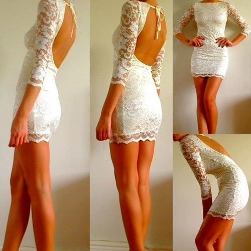 Skin tight white lace dress.