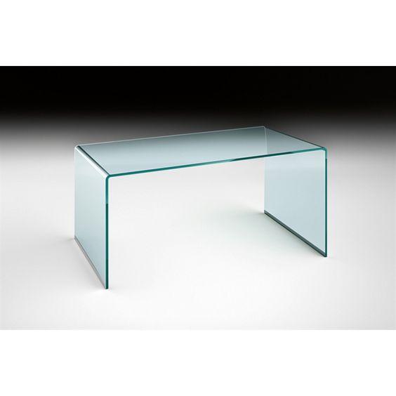 FIAM Glazen tafel/bureau Rialto Office - design by CRS FIAM 15 mm helder gebogen glas, voorzien van aluminium profielen. 180lx80bx73h