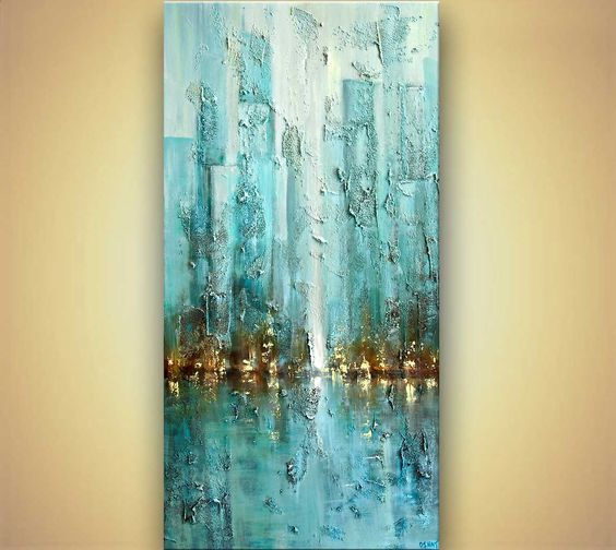 ORIGINAL modern Blue Abstract City Painting Heavy by OsnatFineArt