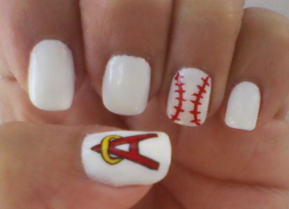 Angels baseball nails
