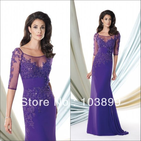 Newest Designing Scoop Neck Chiffon Long Purple Mother Of