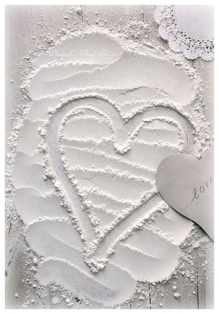 Flour Heart. Love for baking. #HelloWhite