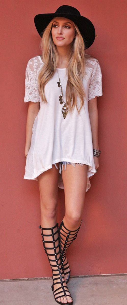#Boho #white #dress & #gladiator #sandals