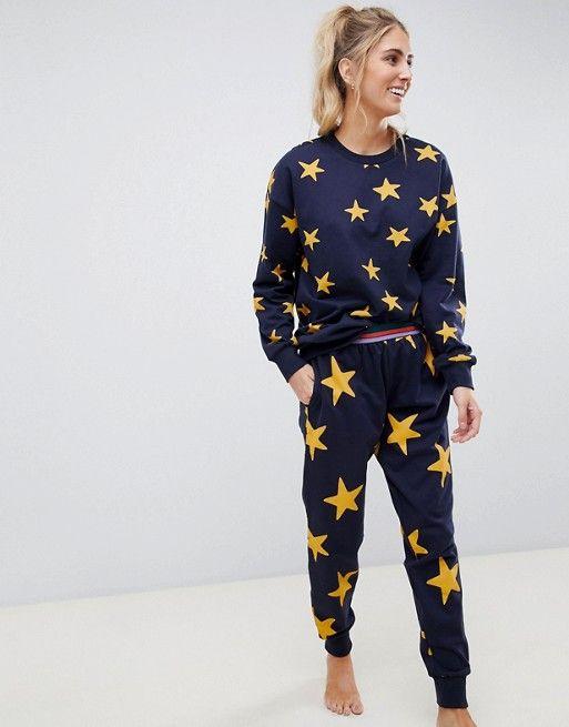 Women Ladie Star Print Sweatshirt Jogging Bottom Loungewear Tracksuit Set Jogger
