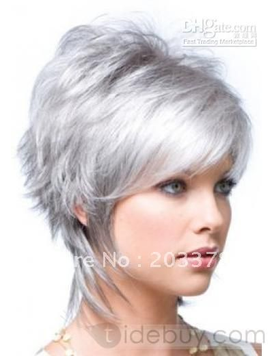 White Short Hair For Women Synthetic Wigs Fashion S Wig Silvery
