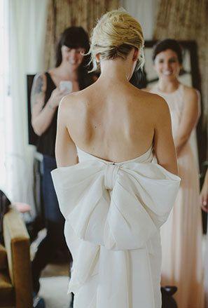 large bow on back of Lanvin wedding dress.