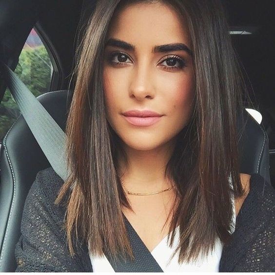 Medium length hairstyles look sleek and mature when straightened!