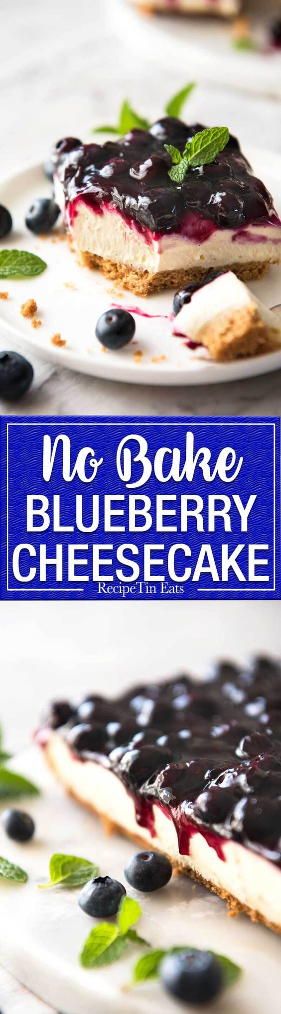 Easy and fast No Bake Blueberry Cheesecake Bars - creamy cheesecake ...