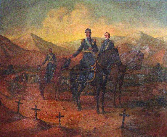 San Martín pasa por el lugar de la batalla de Chacabuco rumbo a Buenos Aires. Octavio Gómez