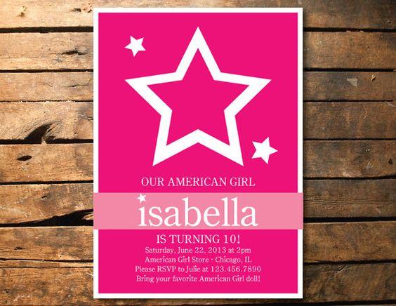 printable star american girl birthday party invitation | taryn's, Birthday invitations
