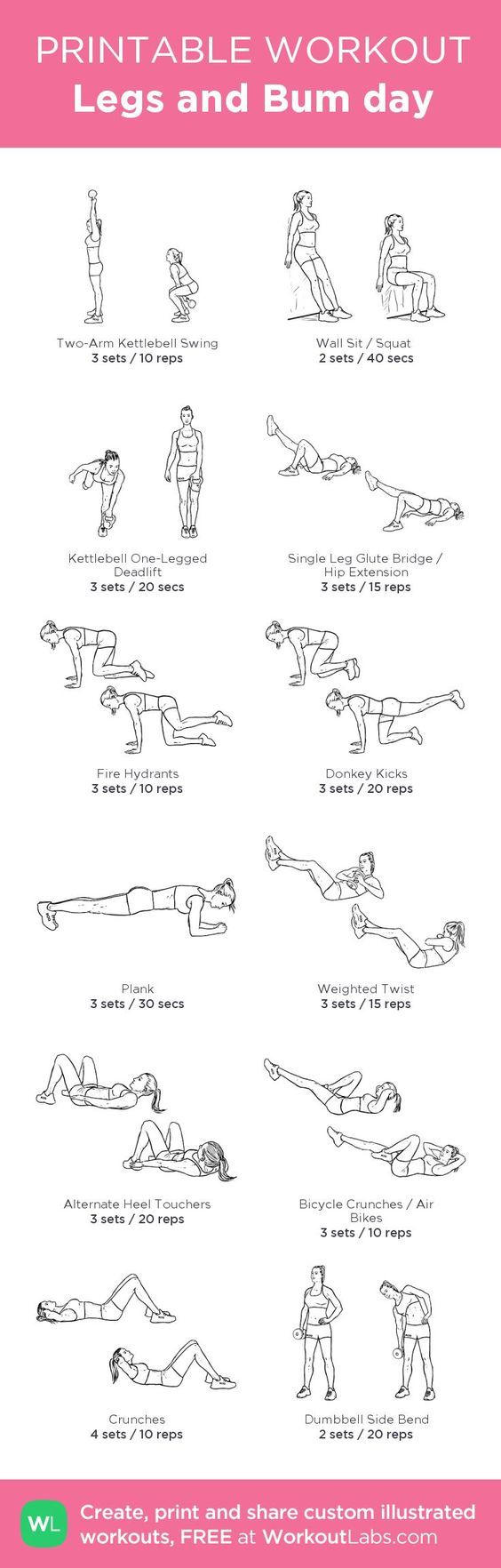 Legs and Bum day : my custom printable workout by @WorkoutLabs #workoutlabs #customworkout