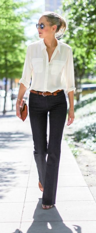 dark wash flare leg bell bottom jeans, silk ivory button front collared blouse, cognac brown braided belt, block heel mules, envelope clutch + messy bun: