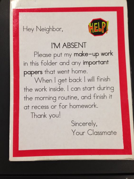 I'm Absent folder cover FREEBIE! Use this to have your students help organize and collect work for absent students.