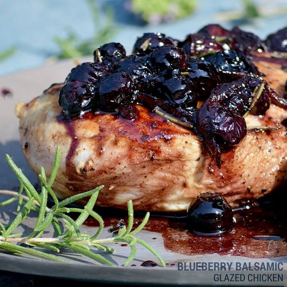 Looks delicious- pairs rosemary and blueberries in the sauce. Blueberry Balsamic Glazed Chicken