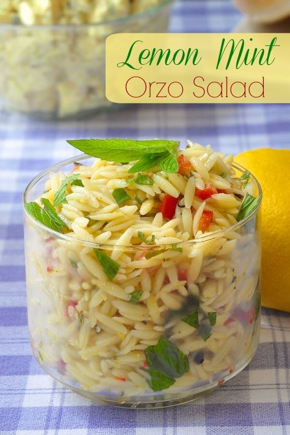 Lemon Mint Orzo Salad - a super easy, super fresh pasta salad that ...