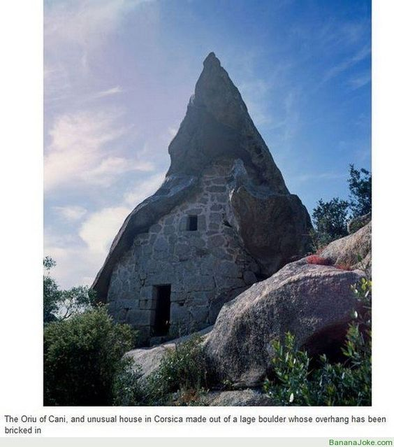 Unusual house in Corsica made out of a large boulder