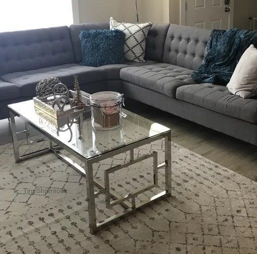 Chrome Glass Top Coffee Table Cocktail Modern Glam Living Room Furniture Metal Chromeandg Modern Glam Living