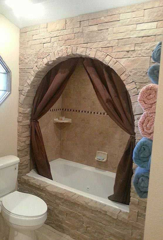 Update your boring built-in bathtub with Faux Stone.