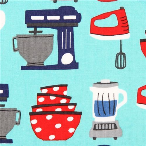 turquoise kitchen utensil fabric by Robert Kaufman USA: