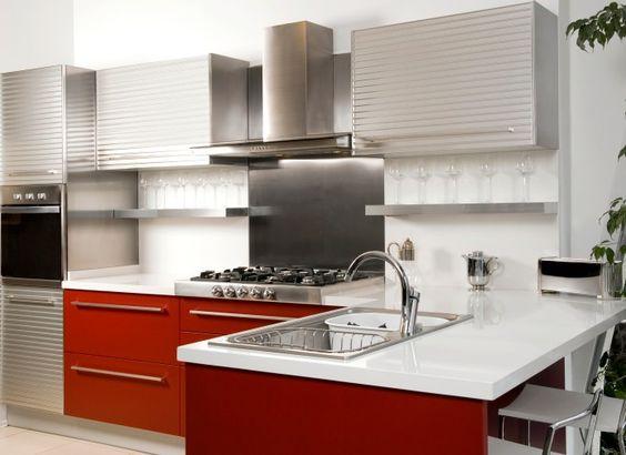 Weiß, silberne und rote Küche Design | 100 Individuelle Luxus ...