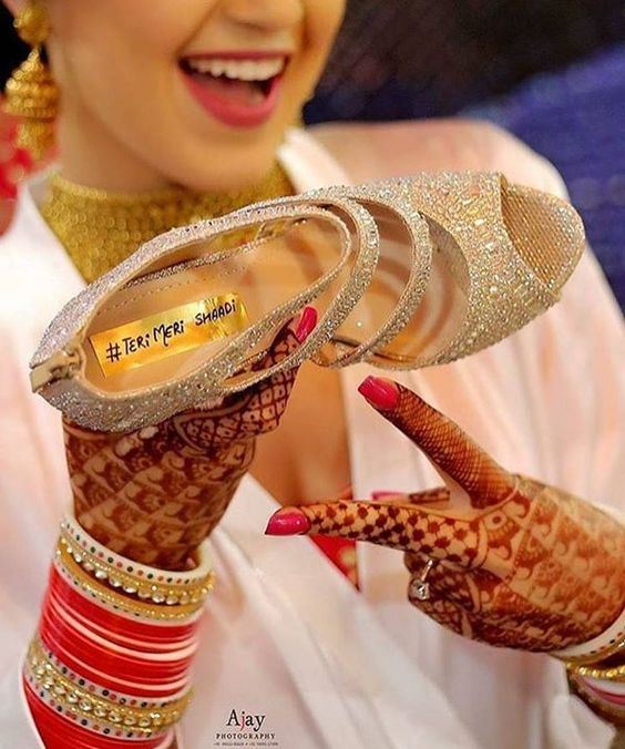 #Bride can hastag their wedding on her #weddingshoes. | wedding hashtag ideas | 8 Steal-Worthy Wedding Hashtag Ideas You'll Love! _ Function Mania