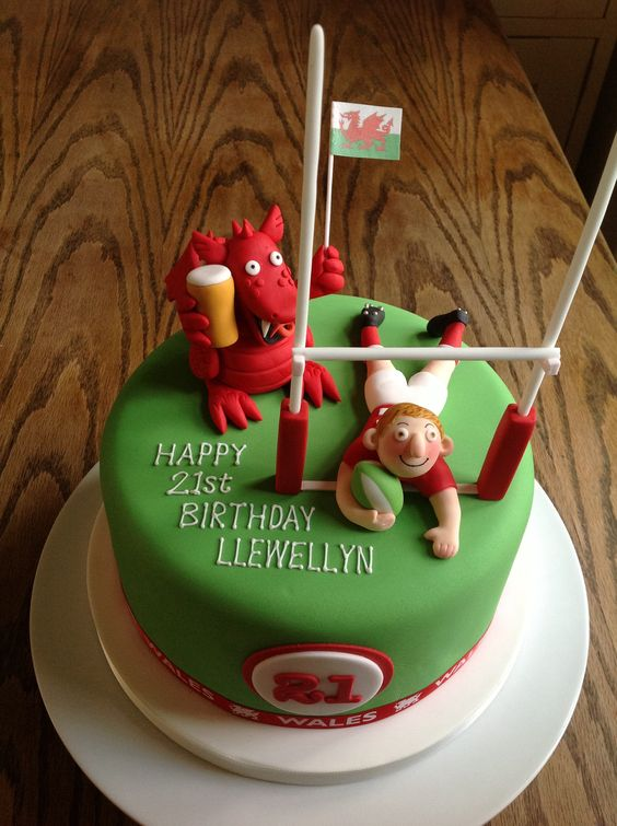 Welsh Rugby Birthday Cake by Canami Bespoke Cakes ...