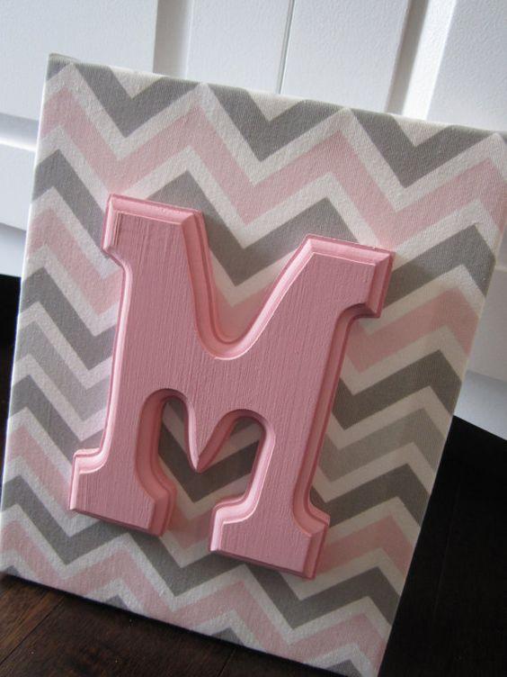 Wall Canvas Letters, Nursery Decor, Nursery Letters, Wooden Letters, Personalized, Nursery Art, Pink Chevron via Etsy