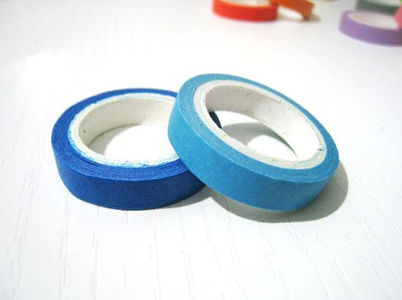 2 Washi Tape  Solid Blue and Light Blue  Set of 2 by pinkdotsetc