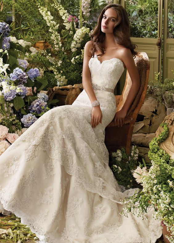 Ivory Alencon lace bridal gown with elongated bodice and scalloped tiered skirt, strapless sweetheart neckline, satin ribbon belt with beaded applique at natural waist and chapel train. Bridal Gowns, Wedding Dresses by Tara Keely - JLM Couture - Bridal Style tk2206 by JLM Couture, Inc.