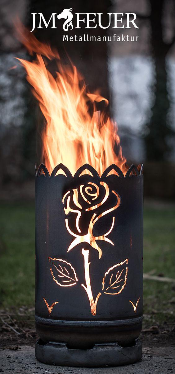 Kleine Feuertonne Rose Hergestellt Aus Einer Gasflasche Jmfeuer Feuertonnen Tonne Feuer