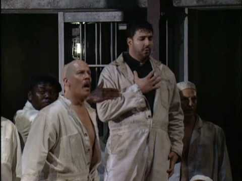"Fidelio, Act 1.7 - ""O welche Lust"". Beethoven's Fidelio at the Met. Eric Cutler (First Prisoner-Priest), Alfred Walker (Second Prisoner), Karita Mattila (Leonore), Jennifer Welch-Babidge (Marzelline). Jürgen Flimm, production; James Levine, conductor."