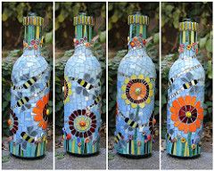 Bee is for Bottle (Remygem) Tags: blue flower glass garden insect mirror bottle bee bead seaglass mosaicchallenge