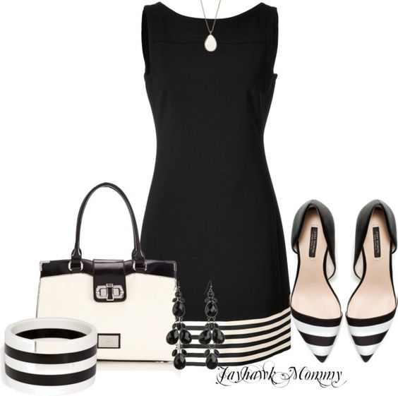 """Black & White Stripes"" by jayhawkmommy ❤ liked on Polyvore:"