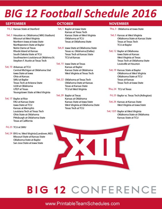 BIG 12 College Football Schedule 2016 Print Here - http://printableteamschedules.com/collegefootball/big12football.php