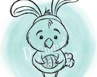 Peek a Boo conejo y canasta de Pascua sello por DrawnbyKrista