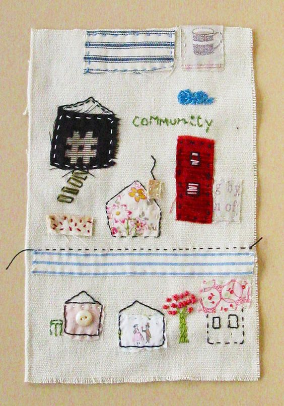 Small art quilt Community neighborhood by ColetteCopeland on Etsy, $40.50