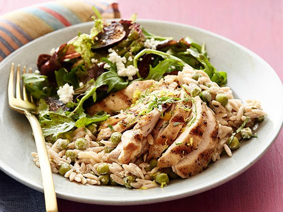 Creamy Lemon-Pepper Orzo with Chicken and Fig Salad #myplate #letsmove #protein #veggies #dairy #fruit