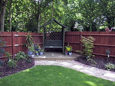 Small deck in corner of fences landscapes koi pond and water feature specialists hampshire - Corner pond ideas ...