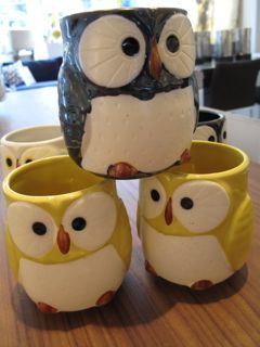 new owl mug colours - yellow and navy!