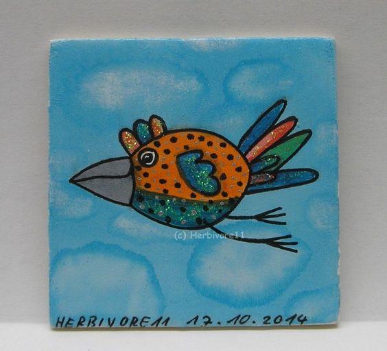 WILD UND FREI-VERRÜCKTE VÖGEL Nr. 1 von Herbivore11 Inchie Vogel Minibild Kunst