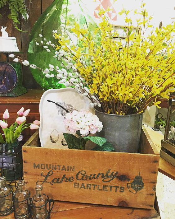 We think this antique pear crate is fantastic. Bonus that it says Lake County! #spring #springdecor #lakebarringtonil #tatteredtiques #shop60010 #lakecountyil #forsythia #tulips #fixerupperstyle #farmhouselove #farmhousedecor #farmhousestyle #countryliving #pear #crate #antique #vintage #vintagecharm #sapbucket #scale #countryliving #midwestliving #cottagestyle #cottagecharm #rusticdecor