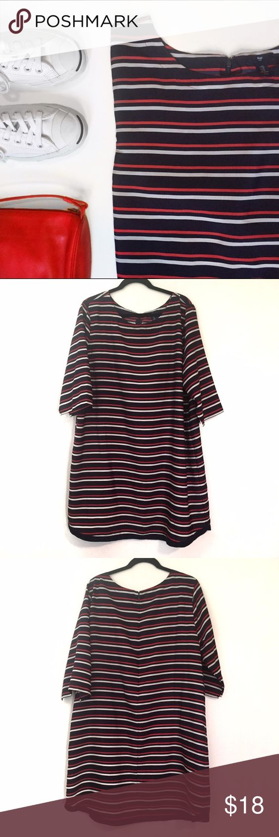 Gap Striped Swing Dress XXL So easy to wear, throw it on with white Chucks, sandals or boots and go! Center zip and hook and eye closure at back. Very gently used, no holes, stains or pilling. Sorry, no trades. GAP Dresses