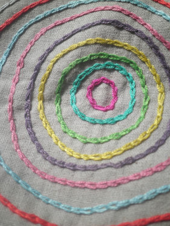 Chain stitch embroidery and circle rainbow on pinterest