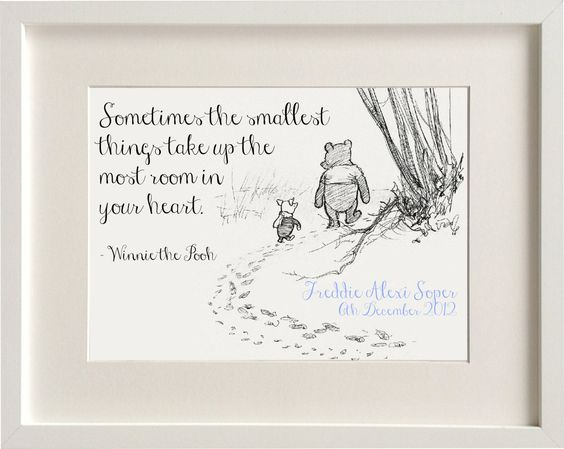 Personalised New Baby Boy/Girl Winnie The Pooh Nursery Birth Name Print Keepsake Picture Christening Gift by LexisLittlePrints on Etsy