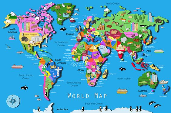 Image Gallery of World Map Countries Labeled Kids