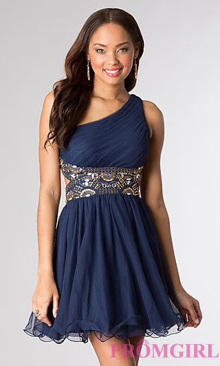 One Shoulder Short Homecoming Dress by Blondie Nites at PromGirl ...