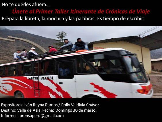 Afiche del Primer Taller Itinerante de Crónicas de Viajes.