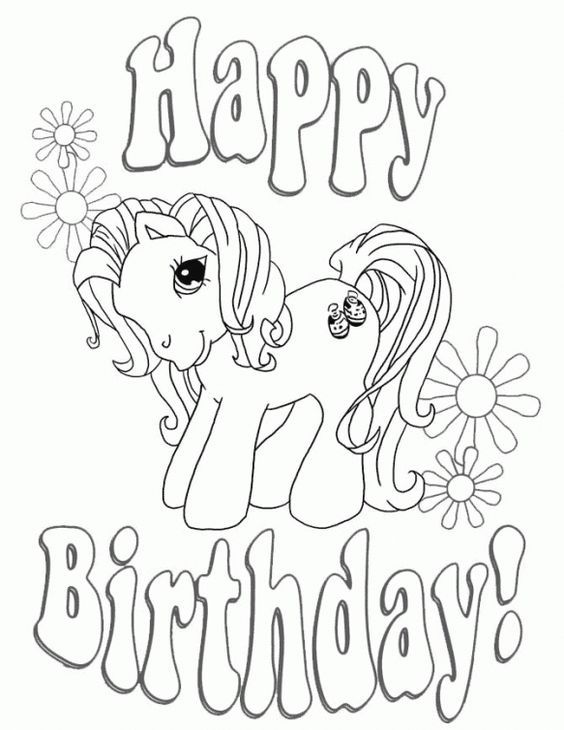 Happy Birthday My Little Pony coloring page free for kids ...