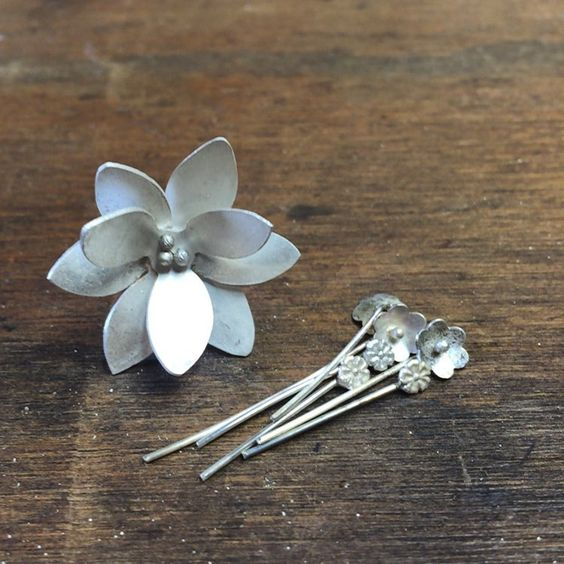 """@chrissygemmilljewels """"Work in progress, a lotus and flower bouquet  I have a lot of work in progress at the moment, so many things to finish for Saturday's jewelry party with…"""""""