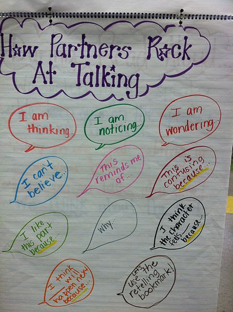Readers Workshop, Turn and Talk...I could definitely make some of these question stems work in math!